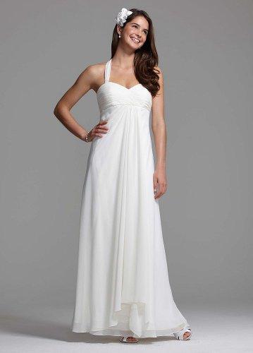David\'s Bridal Wedding Dress: Halter Chiffon A-Line with Center ...
