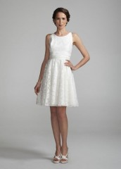 David's Bridal Wedding Dress Halter Short Gown with Ruched Waist Style 875216, Ivory, 6 picture 001