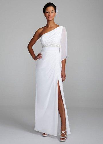 David\'s Bridal Wedding Dress: One Shoulder Beaded Empire Waist Gown ...