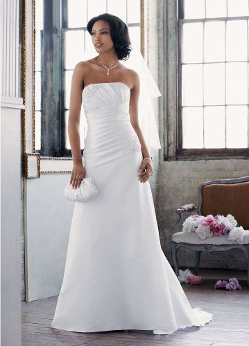 David s bridal wedding dress satin a line with pleated for Wedding dress alterations cost david s bridal