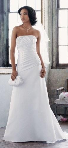 Davids Bridal Wedding Dress Satin Aline With Pleated Bodice - David Bridals Wedding Dresses
