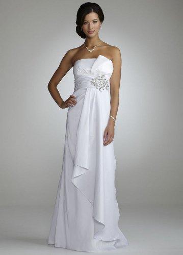 David\'s Bridal Wedding Dress: Strapless Taffeta Gown with Beaded ...