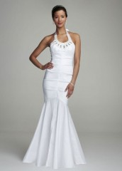David's Bridal Wedding Dress Stretch Taffeta Beaded Gown Style 45238D, White, 4 photo 1