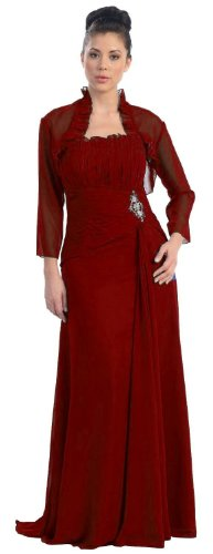 Mother of the Bride Formal Evening Dress #630 (X-Large, Burgundy ...