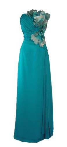 Alivila.Y Fashion Chiffon Strapless Women's Prom Formal Bridesmaid Dress Evening Gown Full length 9078-Midnight Green-12 photo 1