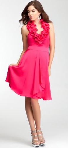 bebe Ruffle Halter Satin Dress Bebe Bridal Bright Rose-4 photo 01