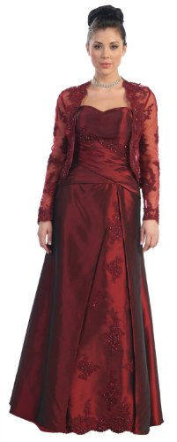 Mother of the Bride Formal Evening Dress #731 (X-Large, Burgundy) picture 1