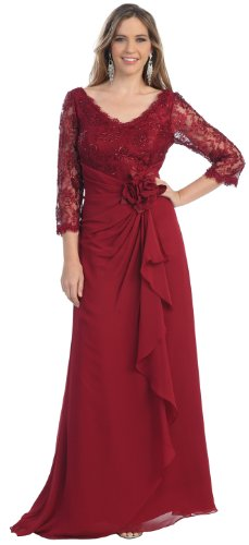 Mother of the Bride Formal Evening Dress #813 (X-Large, Burgundy) photo 1