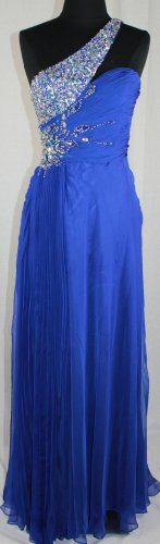 Zeilei One Shoulder Chiffon Embellished Formal Pageant Prom Dress in Royal picture 01