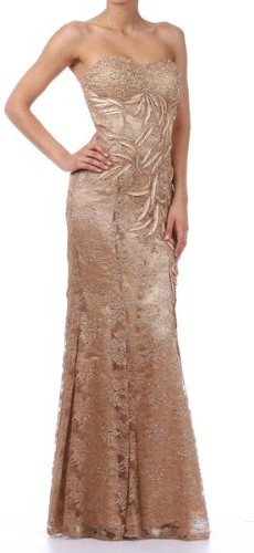 Zeilei Strapless Embellished Lace Pageant Prom Dress in Gold picture 001