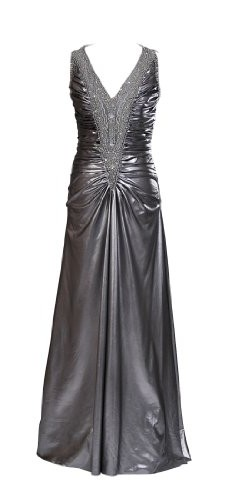 Artwedding Beaded Pleating Floor Length Formal Prom Mother of Bride Taffeta Dress,Silver,4 image 01