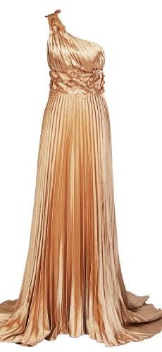 Artwedding One Shoulder Pleated Column Formal Evening Elastic Satin Dress with Sweep Train,Gold,24 image 01