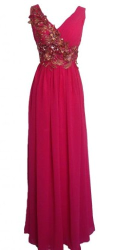 Alivila.Y Fashion Chiffon Embroidery Mother of The Bride Dress Formal Gown Evening Dress 9092-Hot Pink-8 image 1