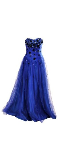 Artwedding Floor Length Sweetheart Beaded Mother of Bride A line Chiffon Dress,Blue,12 picture 001