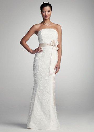 David s bridal wedding dress strapless ruched mermaid for Georges chakra gold wedding dress price