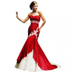 GEORGE BRIDE Elegant Strapless Satin Mermaid Wedding Dress With Beaded Detalil Size 12 Red picture 001