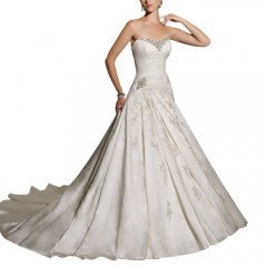 GEORGE BRIDE Strapless Beaded Bodice Satin Court Train Wedding Dress Size 18 Ivory picture 01