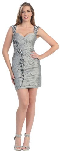 Short Cocktail Party Designer Prom Dress #822 (8, Silver) photo 01