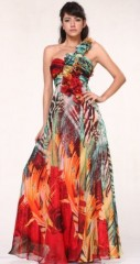 #09721 Print Chiffon Rosettes One Shoulder Pageant Evening Prom Dress (10, Red Print) photo 1