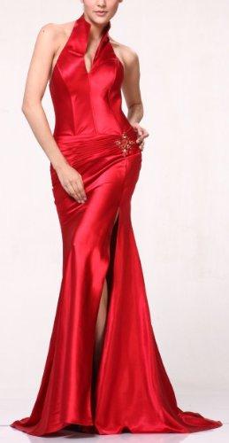 #7701 Halter Corset Bodice Bridesmaids Evening Formal Dress (Medium, Red) picture 01