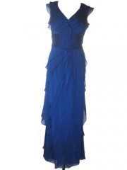 ADRIANNA PAPELL Chiffon Tiered Ruffles Evening Gown-BLUE-14 image 01