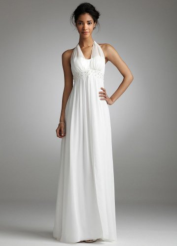 David's Bridal Long Chiffon Over Charmeuse Gown with Split Front Style 230M10000, White, 16 picture 001