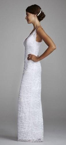 Davids bridal wedding dress beaded stretch lace sheath for Stretch lace wedding dress