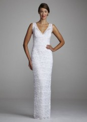 David's Bridal Wedding Dress Beaded Stretch Lace Sheath with Tank Bodice Style 642636D, White, 12 photo 001