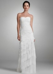 David's Bridal Wedding Dress Chiffon Gown with Beaded Lace Applique Style 230M14920, White, 10 picture 01