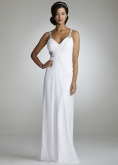 David's Bridal Wedding Dress Chiffon Gown with Beaded Straps Style D6276, White, 12 image 01