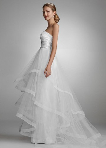 David\'s Bridal Wedding Dress: Sequin Encrusted Gown with Layered ...