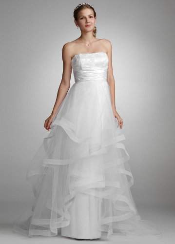 David's Bridal Wedding Dress Sequin Encrusted Gown with Layered Tulle Skirt Style 231M17720, White, 6 picture 001
