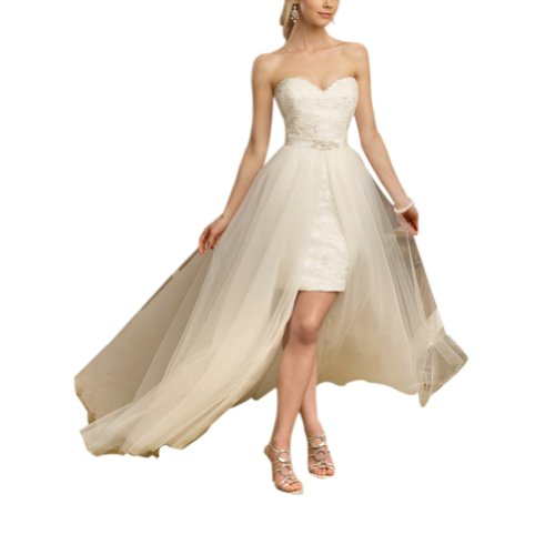 GEORGE BRIDE High Low Strapless Sweetheart All Over Lace Detached Train Wedding Dress Size 8 Ivory picture 001