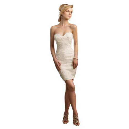 GEORGE BRIDE Short Strapless Sweetheart All Over Lace Wedding Dress Size 2 White photo 001