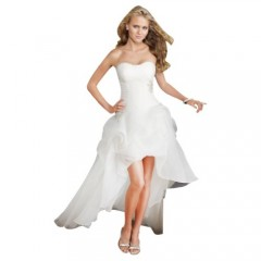 GEORGE BRIDE Strapless High-low Satin Wedding Dress Size 8 White photo 01