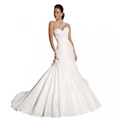 GEORGE BRIDE Sweetheart Neckline Strapless Taffeta Court Train Wedding Dress Size 6 White image 1