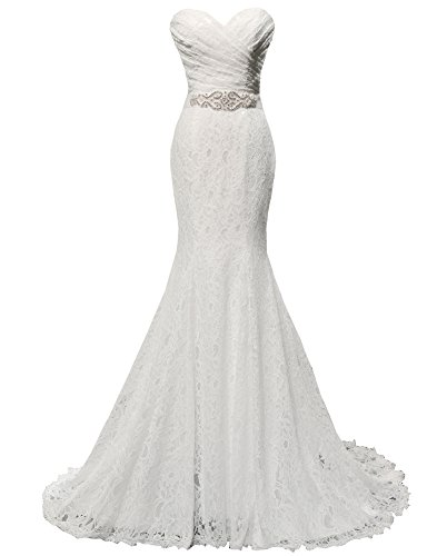 wedding dress mermaid evening dress bridal gown with sash us 4 white