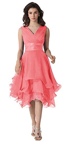Dora Bridal V-Neck Chiffon Mother Of The Bride Dresses Watermelon picture 07