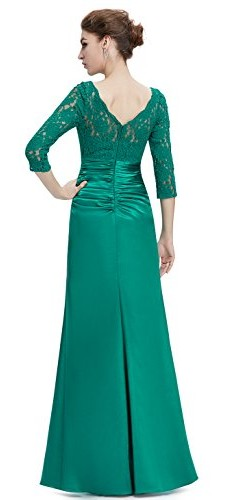 Ever Pretty Womens Floor Length Conservative Long Sleeve Prom Dress 12 US Emerald photo 02