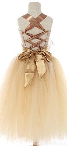 FAYBOX Pageant Wedding Flower Girl Dress Crossed Back Bow Feather Sash Fluffy 8 image 002