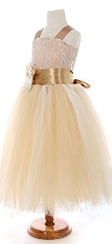 FAYBOX Pageant Wedding Flower Girl Dress Crossed Back Bow Feather Sash Fluffy 8 image 003