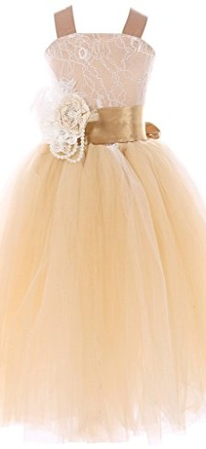 FAYBOX Pageant Wedding Flower Girl Dress Crossed Back Bow Feather Sash Fluffy 8 picture 001