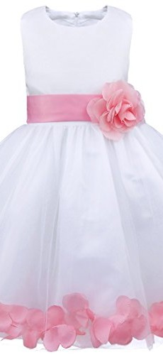 iEFiEL Girls Kids Wedding Party Darling Petals Bowknot Flower Dress Pink 4 photo 05
