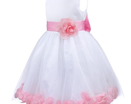 iEFiEL Girls Kids Wedding Party Darling Petals Bowknot Flower Dress Pink 4 photo 1