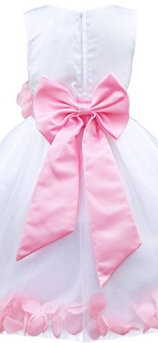iEFiEL Girls Kids Wedding Party Darling Petals Bowknot Flower Dress Pink 4 photo 2