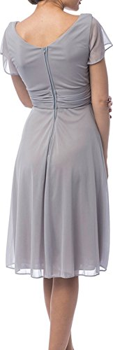 JY Short Sleeve Knee-Length Bridesmaid Mother of the Bride Prom Evening Dress US 8 Purple image 1