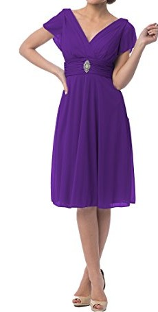 JY Short Sleeve Knee-Length Bridesmaid Mother of the Bride Prom Evening Dress US 8 Purple photo 4