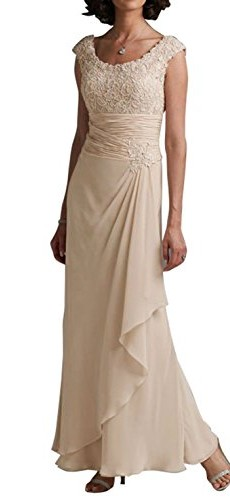 LOVEBEAUTY Round Collar Sleeveless Chiffon Flower Long Mother of the Bride Dresses Champagne 14 photo 001