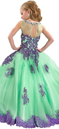 Y&C Girls' Ball Gown Appliques Beads O-neck Pageant Dresses 6 US Green Purple photo 001
