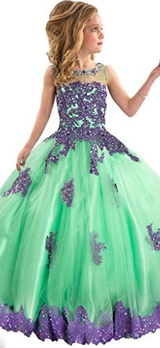 Y&C Girls' Ball Gown Appliques Beads O-neck Pageant Dresses 6 US Green Purple picture 002